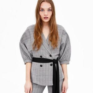 NWT Zara Size S Plaid Belted Jacket